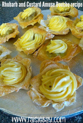 a photo of rhubarb and custard filo tarts