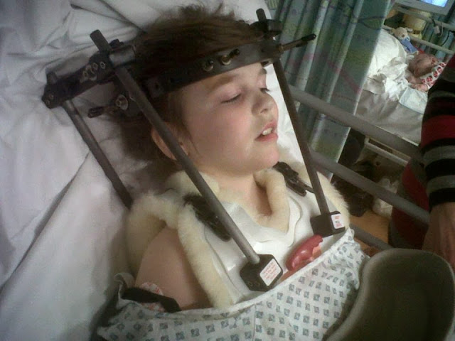 Little girl in hospital after an operation