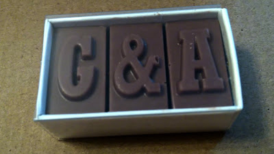 G&A chocolate wedding favour