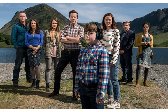 photograph of the cast of the A Word with a back drop of the lake District