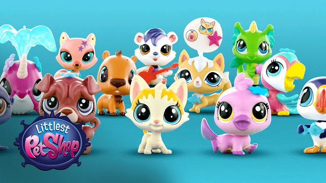 a photo of a selection of the littlest pet shop toys with logo