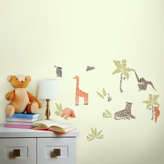 animal wall stickers, giraffe, leopard, monkey, koala bear