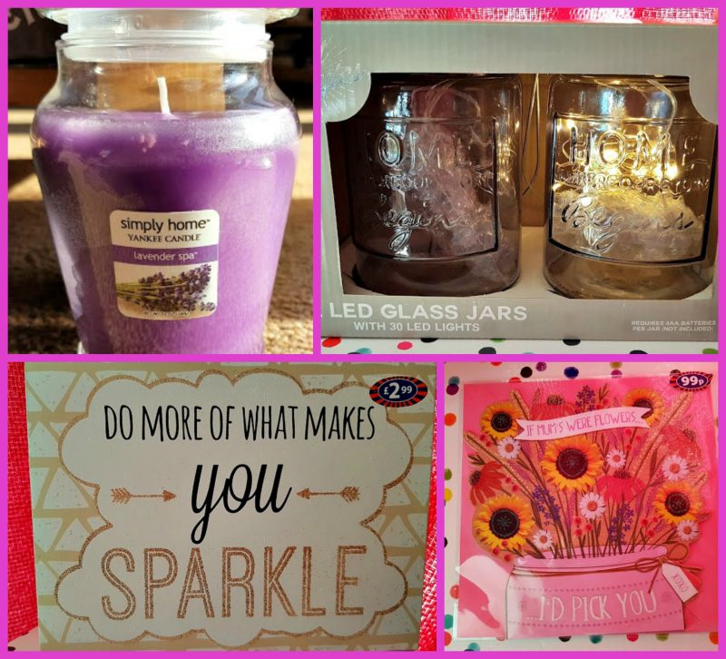 a collage of gifts, a candle, a set of LED jars a quote block and a Mother's Day card
