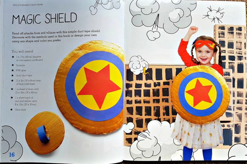 pages from the book showing how to make a magic shield from cardboard and duck tape