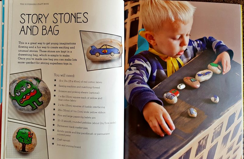 pages from the books showing a little boy playing with some painted stones