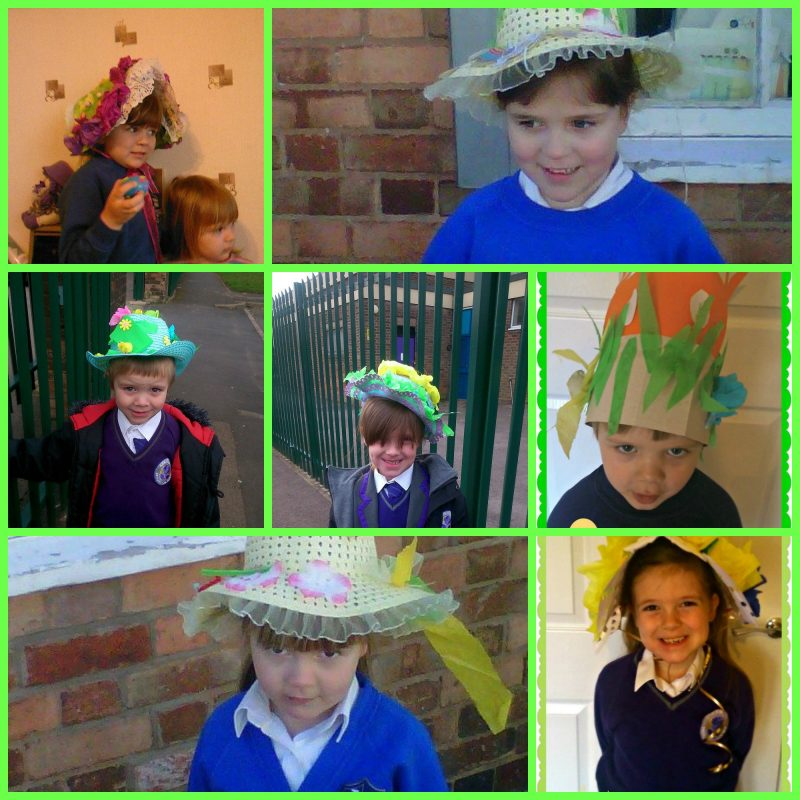 7 different pics of my kid in easter bonnets that we have made in past years