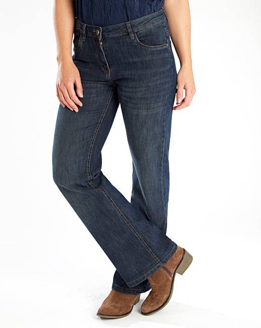 a pair of stonewash bootcut jeans