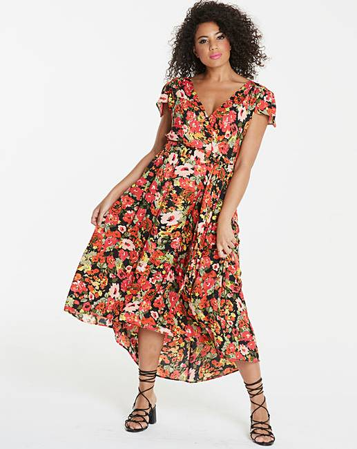 model wearing a floral maxi dress