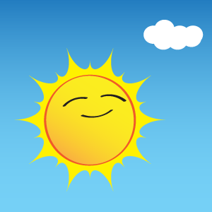 cartoon picture of a sun shining in a blue sky with a single white cloud.