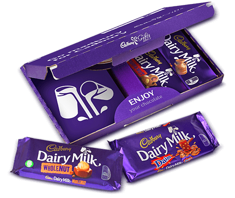 a box of a selection of Cadbury Dairy Milk Bars
