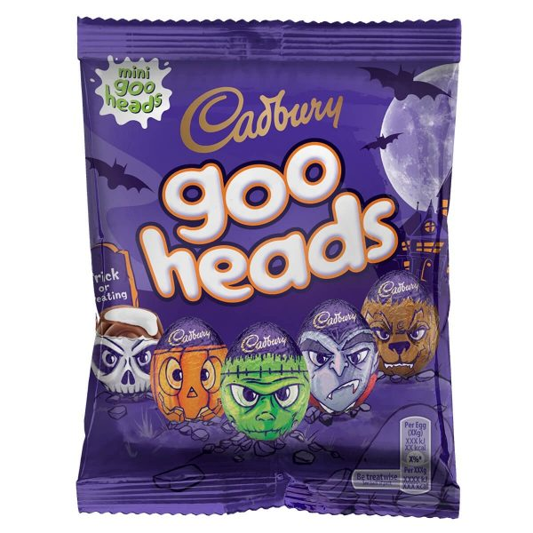 a pack of mini chocolate eggs with ghoulish wrappers