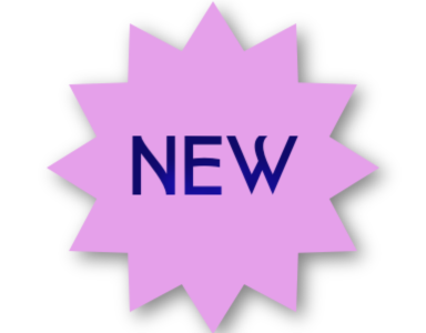 a purple star with the word, new, in the middle